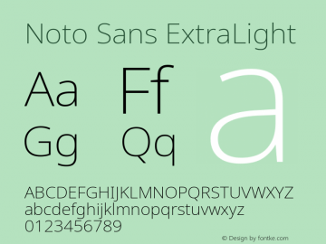 Noto Sans ExtraLight Version 2.001;GOOG;noto-source:20181019:f8f3770;ttfautohint (v1.8.2)图片样张