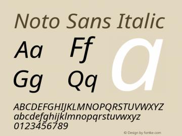 Noto Sans Italic Version 2.001;GOOG;noto-source:20181019:f8f3770;ttfautohint (v1.8.2)图片样张