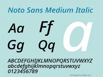 Noto Sans Medium Italic Version 2.001; ttfautohint (v1.8.2)图片样张