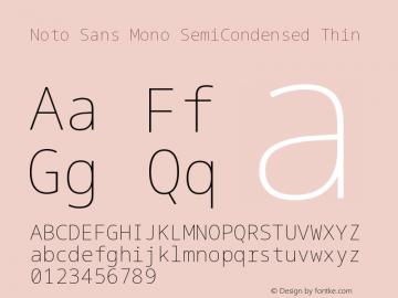 Noto Sans Mono Font,Noto Sans Mono SemiCondensed Thin Font
