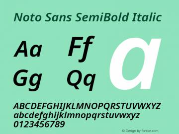 Noto Sans SemiBold Italic Version 2.001; ttfautohint (v1.8.2)图片样张