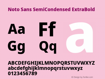 Noto Sans SemiCondensed ExtraBold Version 2.001;GOOG;noto-source:20181019:f8f3770;ttfautohint (v1.8.2)图片样张