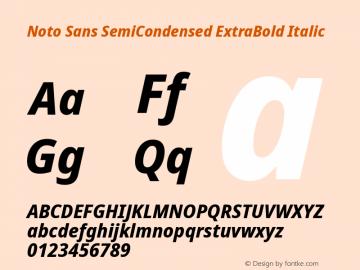 Noto Sans SemiCondensed ExtraBold Italic Version 2.001; ttfautohint (v1.8.2)图片样张