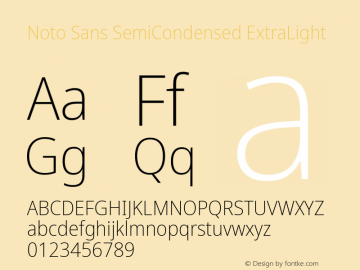 Noto Sans SemiCondensed ExtraLight Version 2.001; ttfautohint (v1.8.2)图片样张