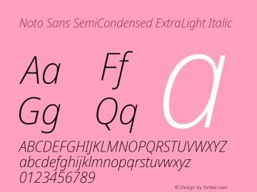Noto Sans SemiCondensed ExtraLight Italic Version 2.001; ttfautohint (v1.8.2)图片样张