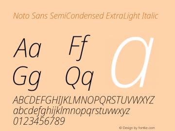 Noto Sans SemiCondensed ExtraLight Italic Version 2.001图片样张