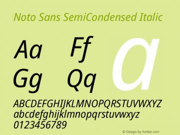 Noto Sans SemiCondensed Italic Version 2.001图片样张