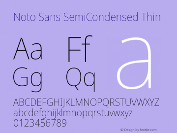 Noto Sans SemiCondensed Thin Version 2.001; ttfautohint (v1.8.2)图片样张