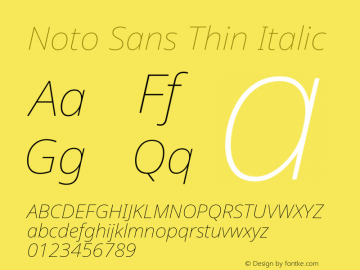 Noto Sans Thin Italic Version 2.001图片样张