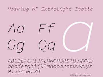 Hasklug ExtraLight Italic Nerd Font Complete Windows Compatible Version 1.050;PS 1.0;hotconv 16.6.51;makeotf.lib2.5.65220 Font Sample