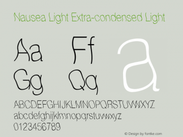 Nausea Light Extra-condensed Light 001.001 Font Sample
