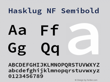 Hasklug Semibold Nerd Font Complete Mono Windows Compatible Version 2.030;PS 1.0;hotconv 16.6.51;makeotf.lib2.5.65220 Font Sample