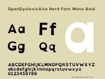 OpenDyslexicAlta Bold Nerd Font Complete Mono Version 2.001;PS 002.001;hotconv 1.0.70;makeotf.lib2.5.58329图片样张