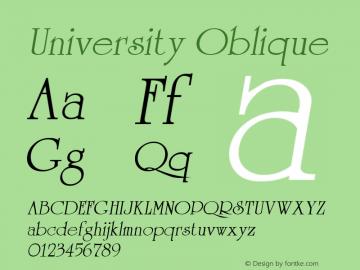 University Oblique 1.0 Sat Sep 10 17:51:37 1994 Font Sample