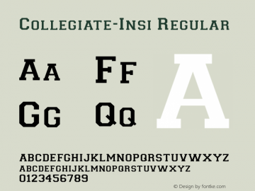 Collegiate-Insi Regular Converted from c:\2-lbattf\COLLEGIN.TF1 by ALLTYPE Font Sample