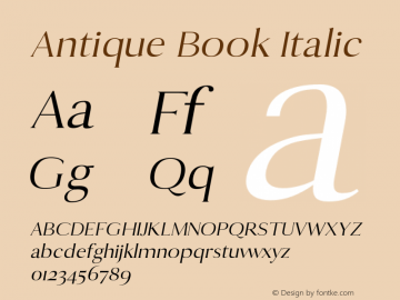 Antique Book Italic 0.1.0图片样张