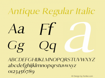 Antique Regular Italic 0.1.0图片样张