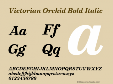 VictorianOrchidBoldItalic Version 1.000;PS 001.000;hotconv 1.0.88;makeotf.lib2.5.64775;YWFTv17图片样张