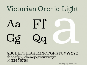 VictorianOrchidLight Version 1.000;PS 001.000;hotconv 1.0.88;makeotf.lib2.5.64775;YWFTv17图片样张