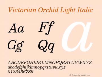 VictorianOrchidLightItalic Version 1.000;PS 001.000;hotconv 1.0.88;makeotf.lib2.5.64775;YWFTv17图片样张