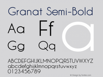 Granat Semi-Bold Version 1.00;December 6, 2018;FontCreator 11.5.0.2422 64-bit图片样张