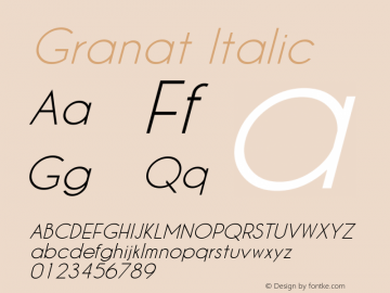 Granat Italic Version 1.00;December 6, 2018;FontCreator 11.5.0.2422 64-bit图片样张