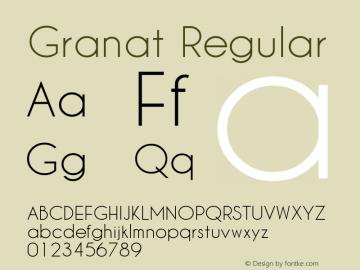 Granat Version 1.00;December 6, 2018;FontCreator 11.5.0.2422 64-bit图片样张