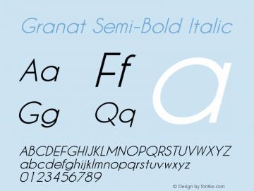 Granat Semi-Bold Italic Version 1.00;December 6, 2018;FontCreator 11.5.0.2422 64-bit图片样张