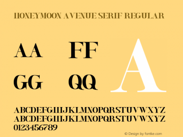 Honeymoon Avenue Serif Version 1.00;January 7, 2019;FontCreator 11.5.0.2430 64-bit图片样张