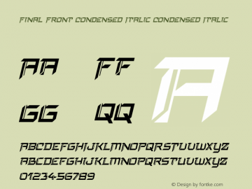 Final Front Condensed Italic Version 1.0; 2019图片样张