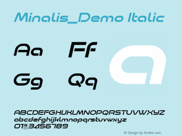 Minalis_Demo Italic Version 1.00 January 9, 2019, initial release图片样张