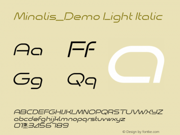 Minalis_Demo Light Italic Version 1.00 January 9, 2019, initial release图片样张