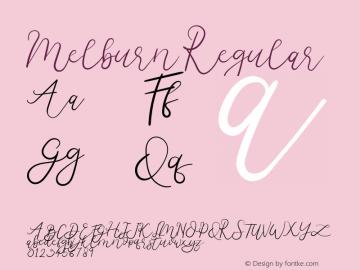 Melburn Version 1.00;January 9, 2019;FontCreator 11.5.0.2430 64-bit图片样张
