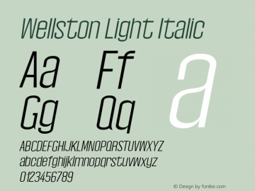 Wellston Light Italic 0.1.0图片样张