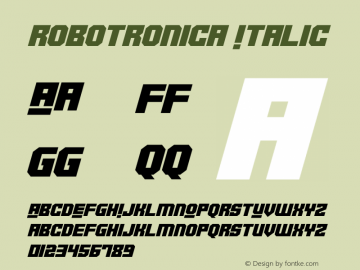 Robotronica Italic Version 1.00 January 18, 2019, initial release图片样张