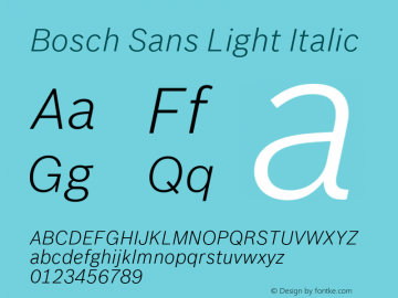 BoschSans-LightItalic Version 1.000;PS 2.00;hotconv 1.0.38图片样张