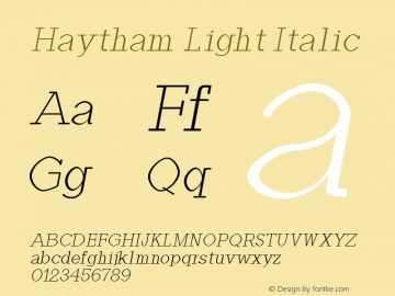 Haytham Light Italic Version 1.0图片样张