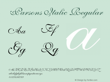 Parsons Italic Regular Unknown图片样张