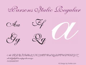 Parsons Italic Regular Unknown Font Sample