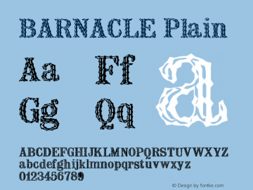 BARNACLE Plain Unknown Font Sample