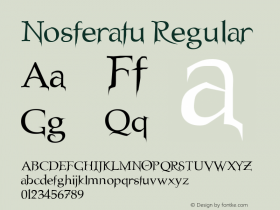 Nosferatu Regular Unknown Font Sample