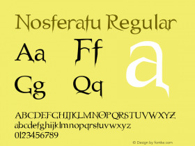 Nosferatu Regular Altsys Fontographer 3.5  3/23/96 Font Sample