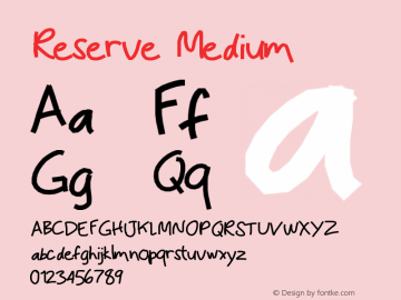 Reserve Medium Version 001.000 Font Sample