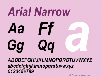 Arial Narrow Bold Italic Version 2.37m图片样张