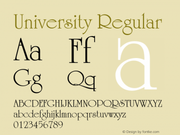 University Regular 1.0 Font Sample