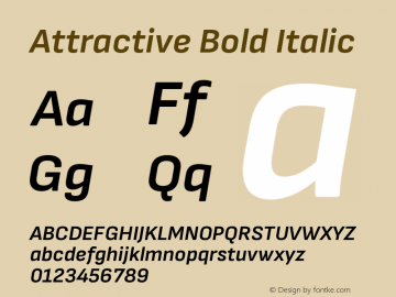 Attractive BoldItalic Version 3.001图片样张