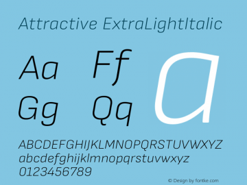 Attractive ExtraLightItalic Version 3.001图片样张