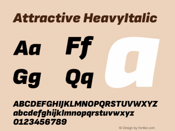 Attractive HeavyItalic Version 3.001图片样张