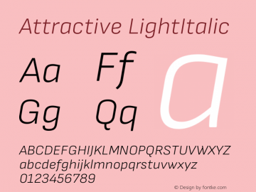 Attractive LightItalic Version 3.001图片样张