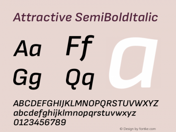 Attractive SemiBoldItalic Version 3.001图片样张